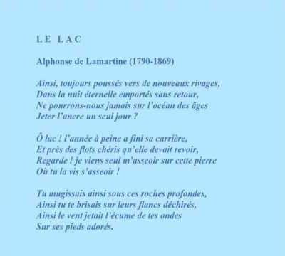 Alphonse de Lamartine -- Poème 'Le Lac'