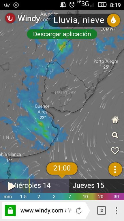 Secuencia del la posible Avance de la tormenta(imágenes Windy)