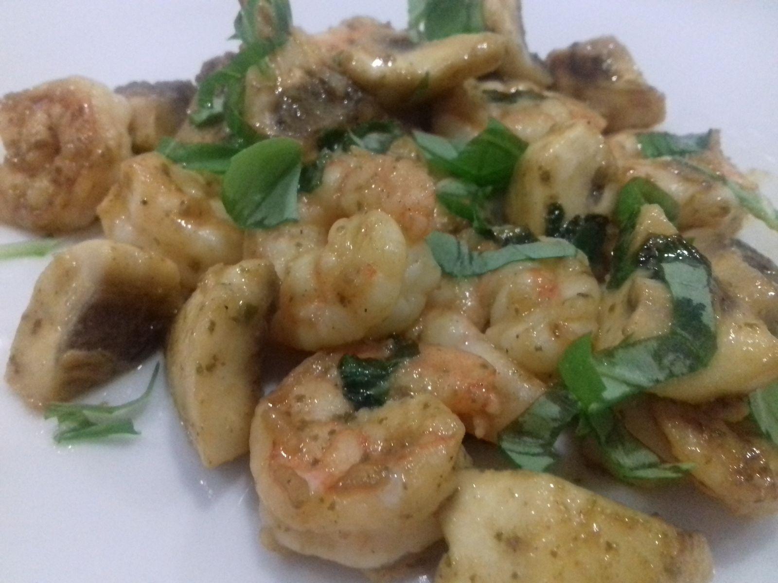 Antipasti crevettes et champignons