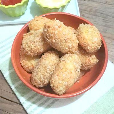 Croquettes de riz, carotte rapée au flocons d'avoine