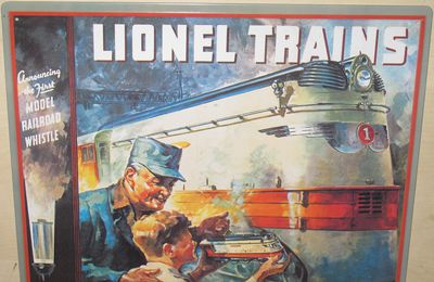 Plaque émaillée 1935 Lionel Catalog Cover Tin Sign Lionel