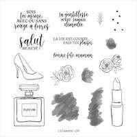 152370 Juste la classe tampon stampin up bouteille de parfum n°5 rouge a lèvre escarpin talon sac à main sac à dos