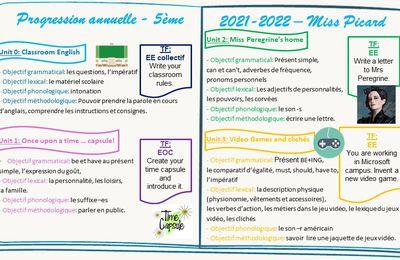 Progression annuelle 5ème - 2021/2022