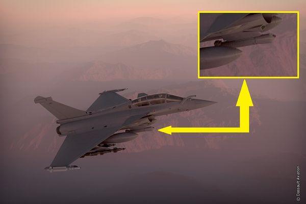 (c) Dassault Aviation - Image de synthèse d'un Rafale équipé de la nacelle Sniper.