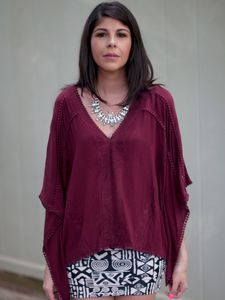 OOTD | Wine Top and Graphic Skirt