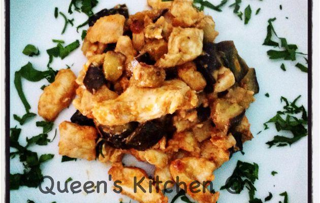 Spadellata di pollo e melanzane con paprika e rosmarino