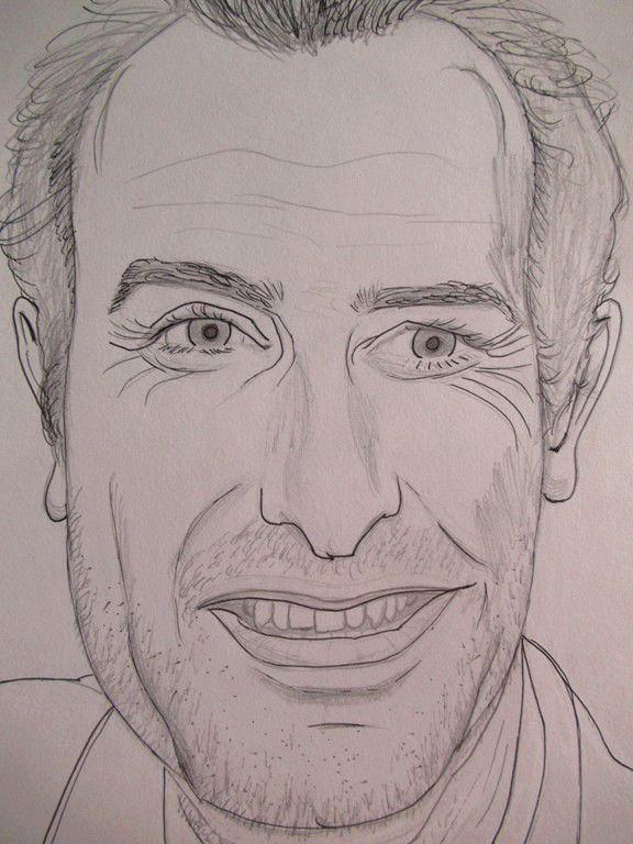 Jean Dujardin - mon dessin d'hier 15 H 03 après la sieste et avant le goûter