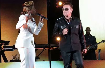 Bono et Mary J. Blige au Fondation Robin Hood à New York 13-05-2013