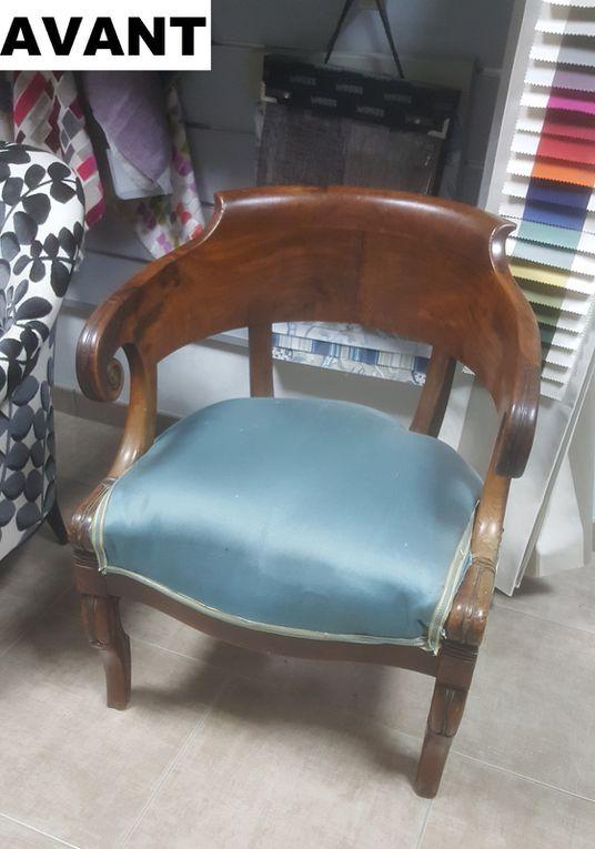 refection fauteuil restaurattion arabesque thiers tapissier tissu poids velours sur toile grise anthracite