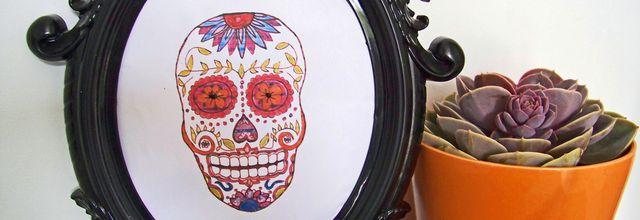 """"""" Dia de los muertos """" ou le crâne coloré encadré"""