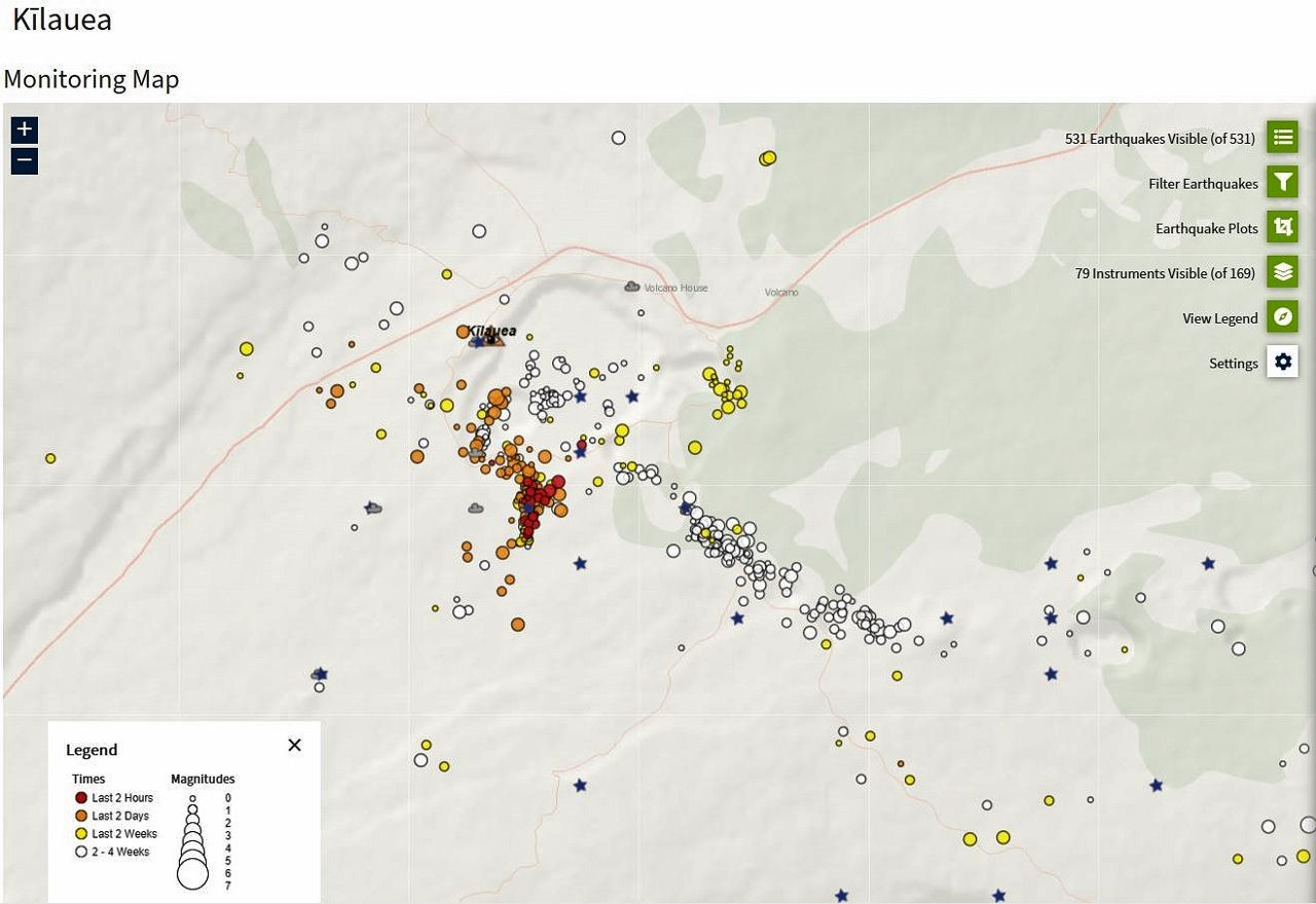 Kilauea - seismic swarm of 08/24/2021 / 6:36 p.m. - magmatic dyke intrusion in the southern caldera -Doc. HVO-USGS - one click to enlarge