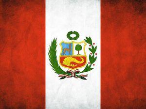 Le drapeau du Pérou et l'actuel Président OLLANTA HUMALA