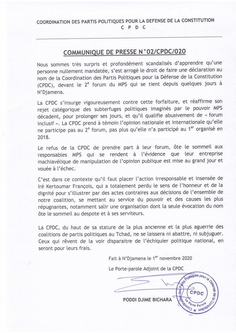 Tchad: la Cpdc dénonce un usurpateur au Forum non inclusif du Mps