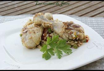 cuisses de poulet au riz, aux petits pois et poivrons