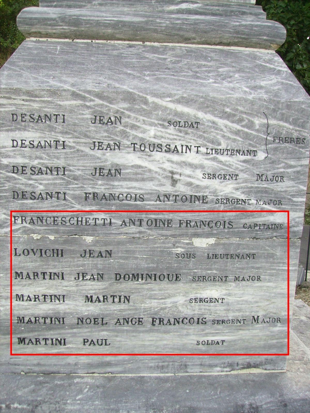 Les trente noms du monument: la fin de la deuxième face (4)