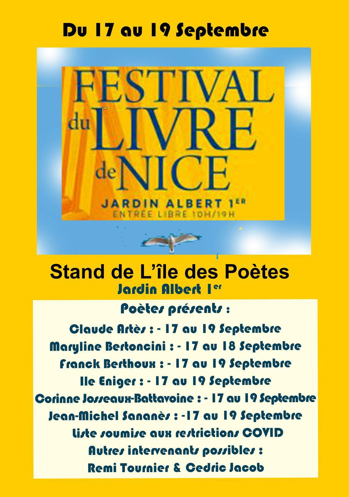Salon du Livre de Nice, 17, 18, 19 septembre 2021