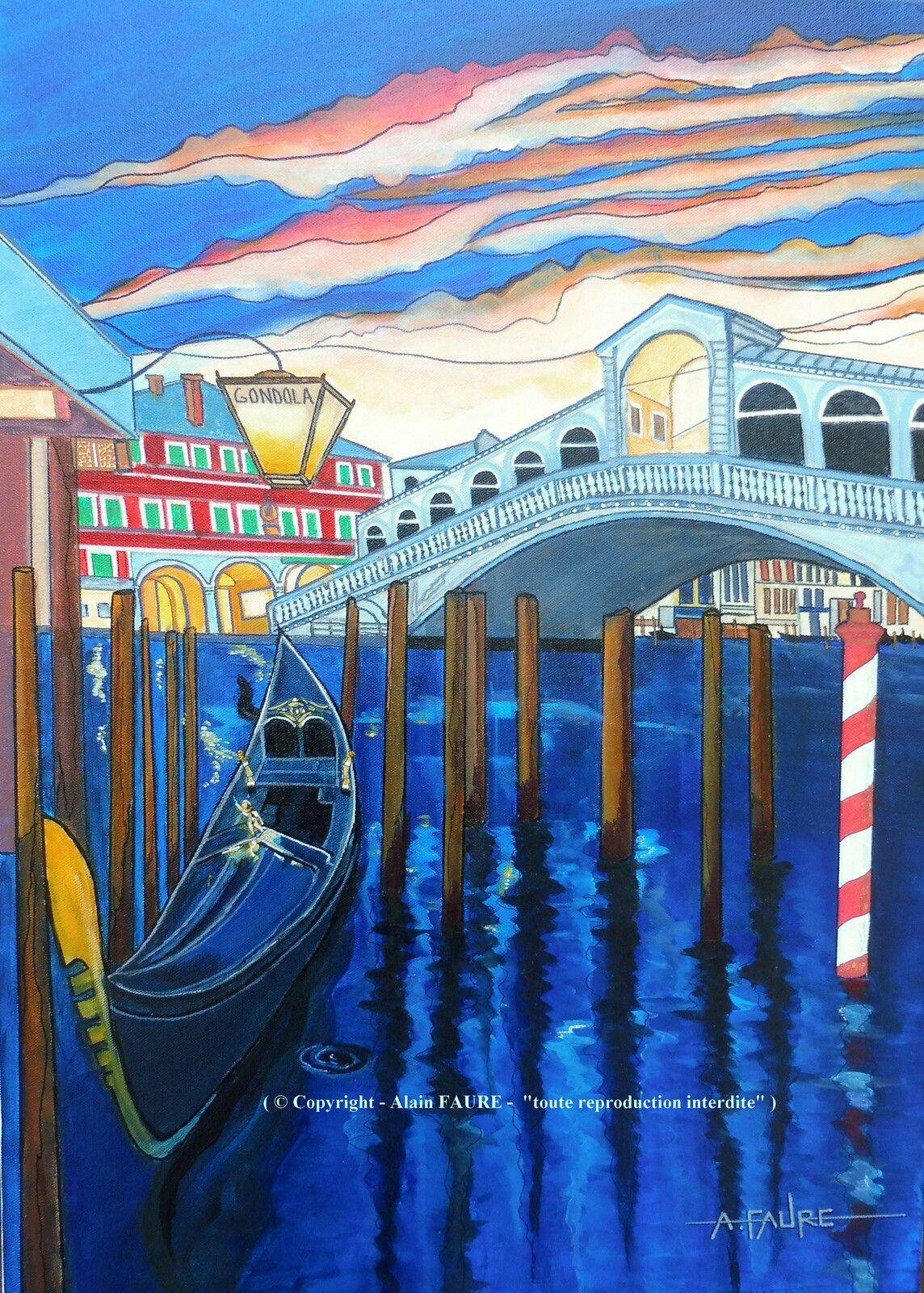 PONT DU RIALTO Peinture Acrylique sur Toile: 70 x 50 cm.....1100 € -  Avant même le fameux Pont des Soupirs, le Pont du Rialto est le plus célèbre pont de Venise pour son architecture et son histoire. C'est le plus ancien des quatre ponts du Grand Canal ayant été construit entre 1588 et 1591. Jusqu'au 19ème siècle, il était la seule possibilité de traverser le canal. Aujourd'hui avec son arche unique et la présence de boutiques (surtout de bijouteries), il est l'un des rares exemples contemporains de pont bâti.