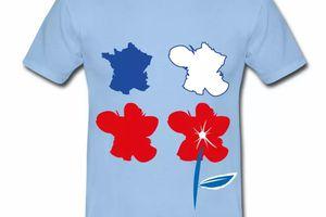 T shirt bleu blanc rouge La France est une fleur HBC