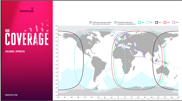 Global Xpress coverage map with the addition of GX5