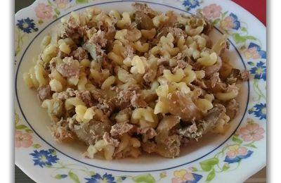 Poêlée de pâtes aux champignons & thon