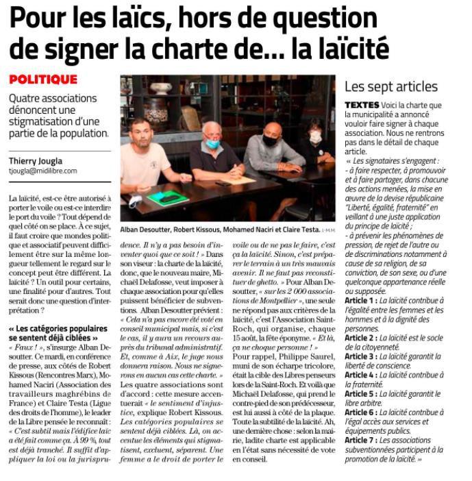 Article de Midi Libre rendant compte de la conférence de presse RML,Maghrebins de France,  Libre pensée, LDH sur la charte macronienne