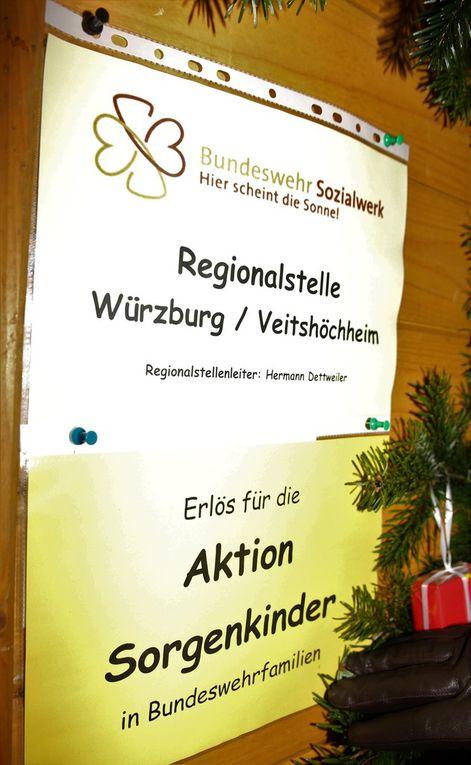 Neu mit einem Stand an diesem Wochenende vertreten, die Regionalstelle Würzburg/Veitshöchheim, die Selbstgebasteltes zugunsten der Aktion Sorgenkinder in Bundeswehrfamilien feilbietet.