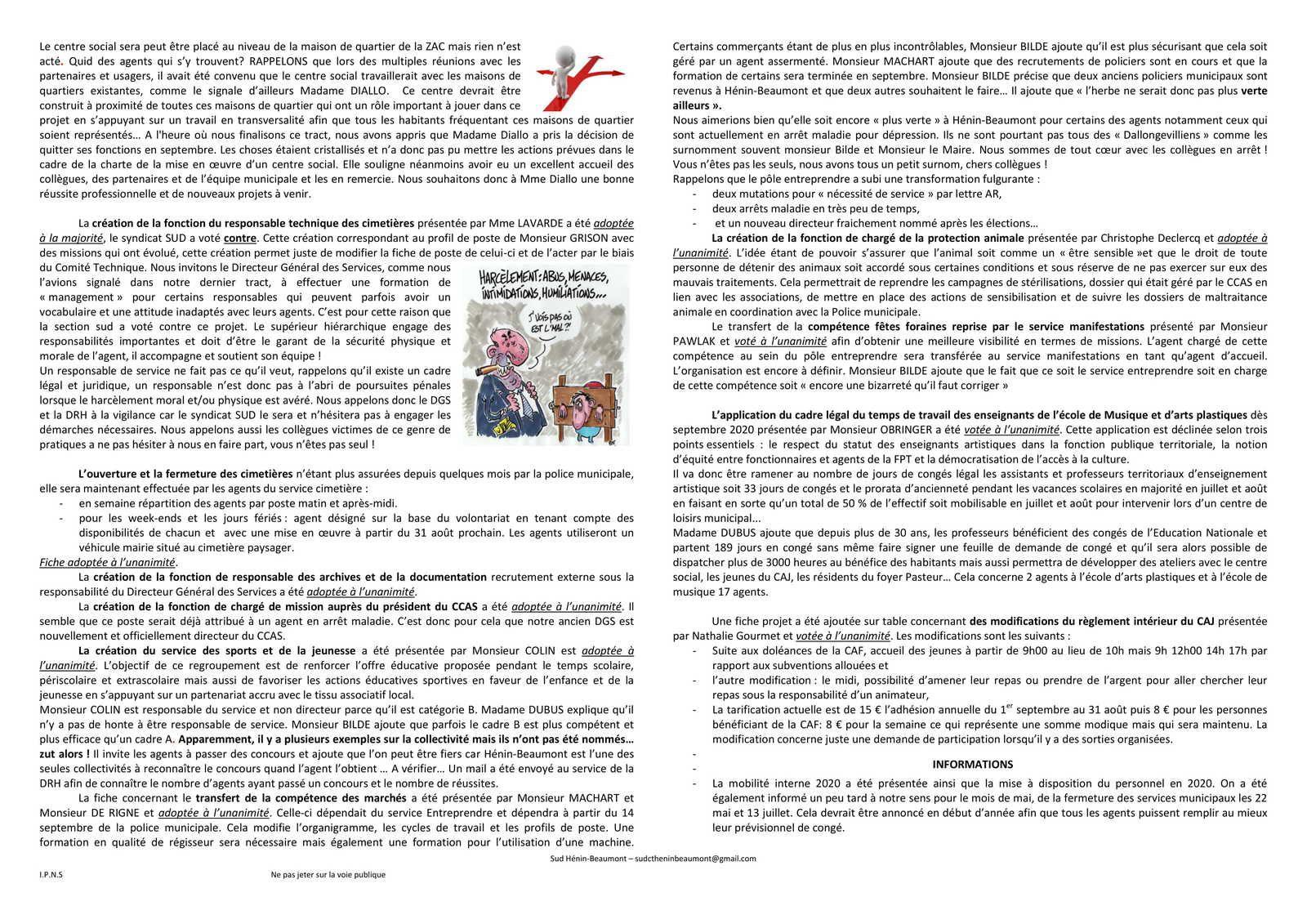 Hénin-Beaumont : le compte-rendu du Comité Technique du 2 juillet 2020 fait par SUD Collectivités Territoriales
