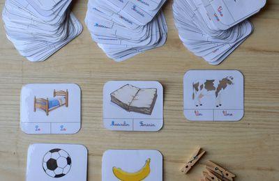 PDF gratuit-  162 cartes à pinces à imprimer - grammaire féminin masculin