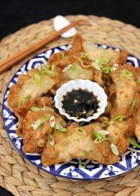 Raviolis frits au poulet et à la ciboule