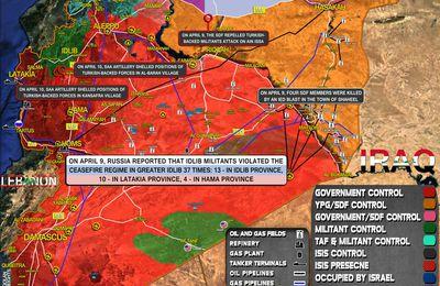 Situation militaire en Syrie au 10 avril 2021 (Southfront)