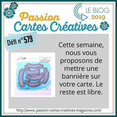 Défi n°579 Passions Cartes Créatives: une carte ave une bannière