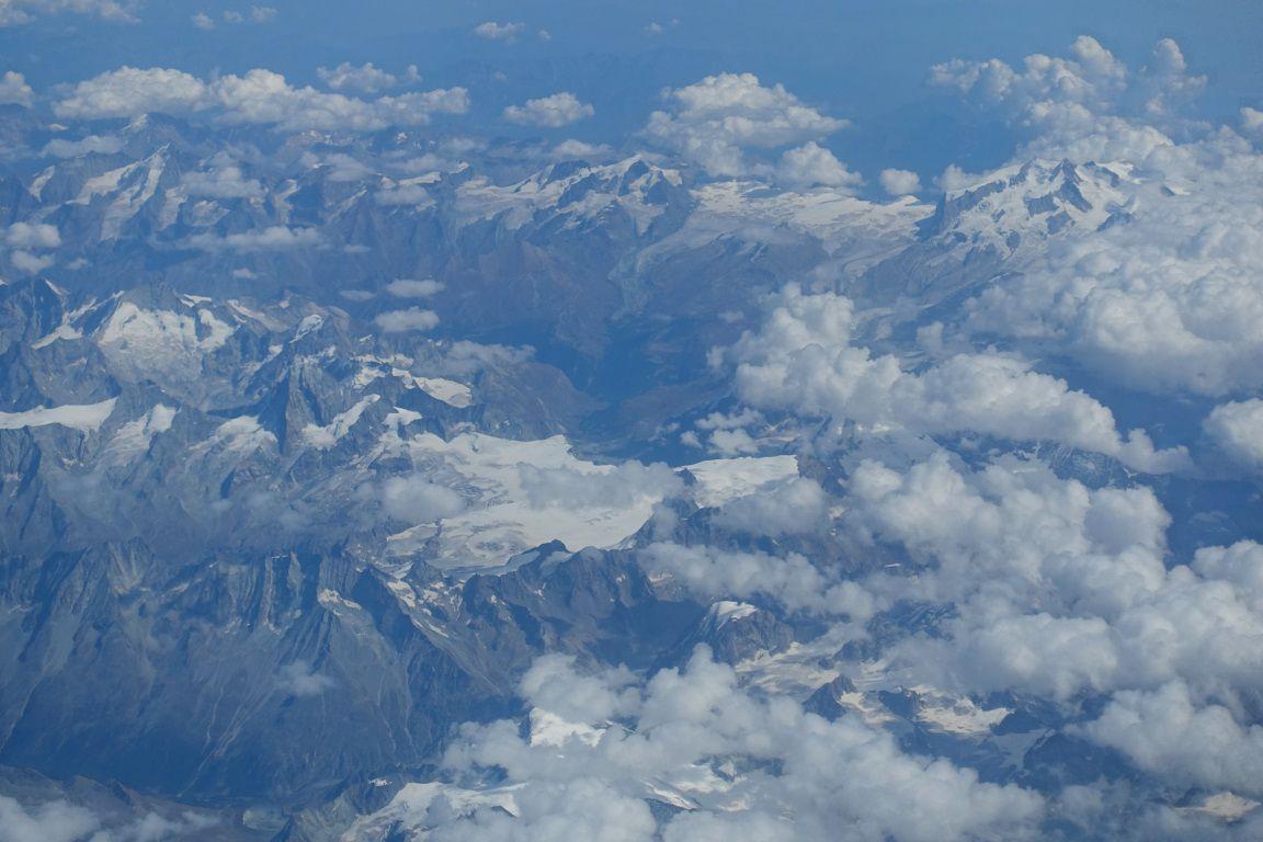 Rome- Paris du 17 septembre : le Valais, le glacier de Corbassière au Grand Combin et le Mont Rose