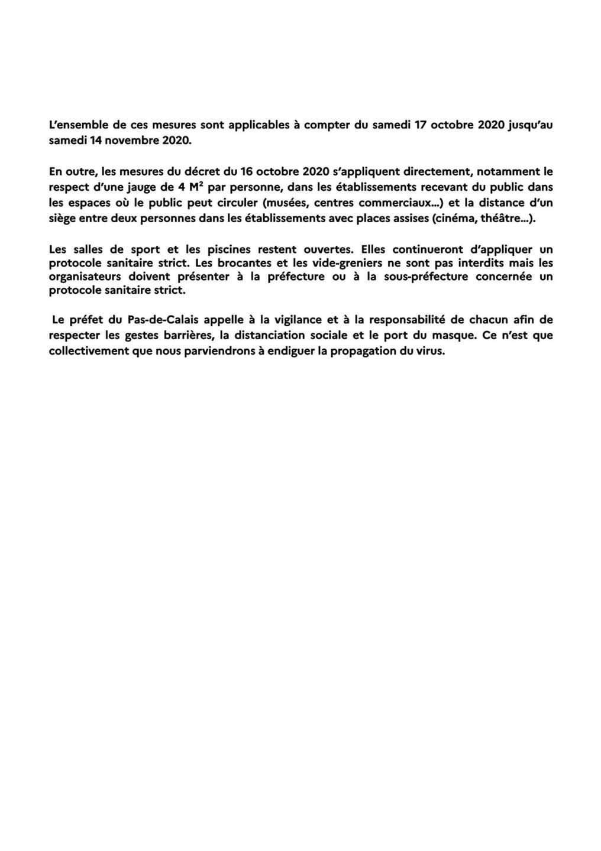Covid 19 : nouvelles mesures de lutte contre la propagation du Covid-19 dans le Pas-de-Calais