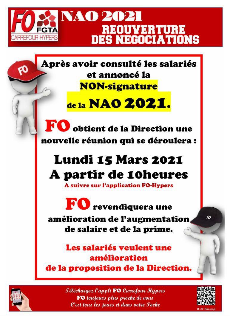 NAO 2021 Réouverture des négociations le lundi 15 Mars 2021 à partir de 10h00