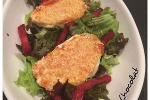 Salade chorizo et mozzarella panée