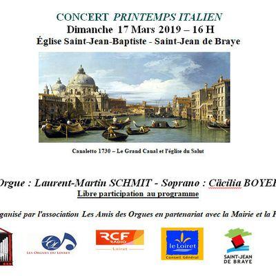 Concert de PRINTEMPS ITALIEN organisé à ST JEAN DE BRAYE par Les Amis des Orgues le dimanche 17 MARS 2019
