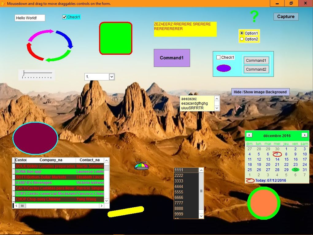 can arrange controls with a background image and capture the whole screen with snippingtool.note only objects with dragmode=1 can be draggable.