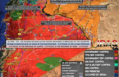 Situation militaire en Syrie au 13 avril 2021 (Southfront)