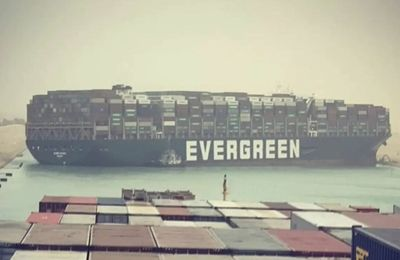 100 ships blocked by a grounded container ship in the Suez Canal