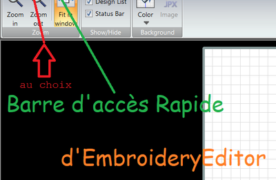 11 Barre d'acces rapide d'embroidery editor Janome.