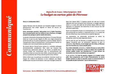 Budget régional 2018: Mme Pécresse se moque du monde