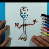 Como dibujar a Forky paso a paso - Toy Story 4   How to draw Forky - Toy Story 4