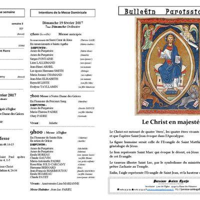 Bulletin 19 Février 2017