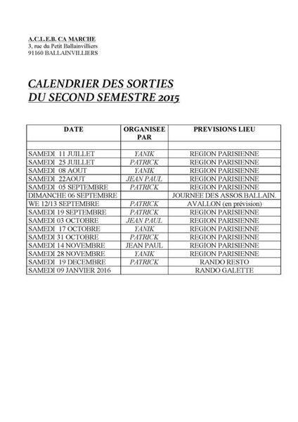 CALENDRIER DES SORTIES DU SECOND SEMESTRE 2015