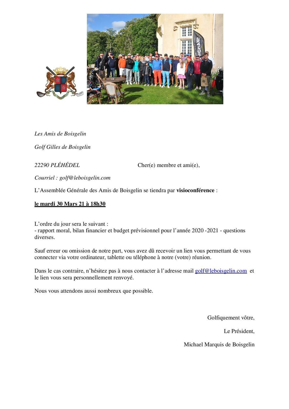 A.G. de l'association des Amis de Boisgelin : Rappel