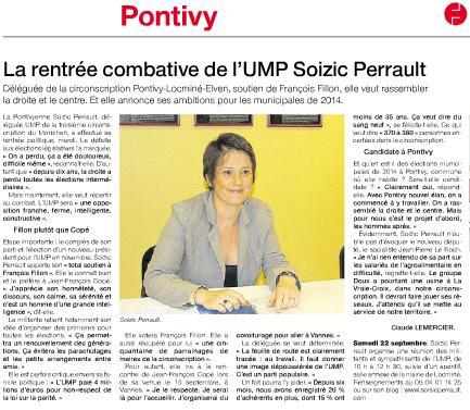 """""""La rentrée combative de l'UMP Soizic Perrault"""" à lire dans Ouest France Pages Pontivy"""