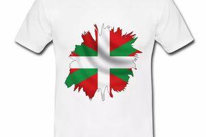 T shirt Pays Basque blanc homme Drapeau Basque 64