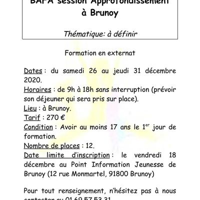 SESSION APPROFONDISSEMENT BAFA 2020