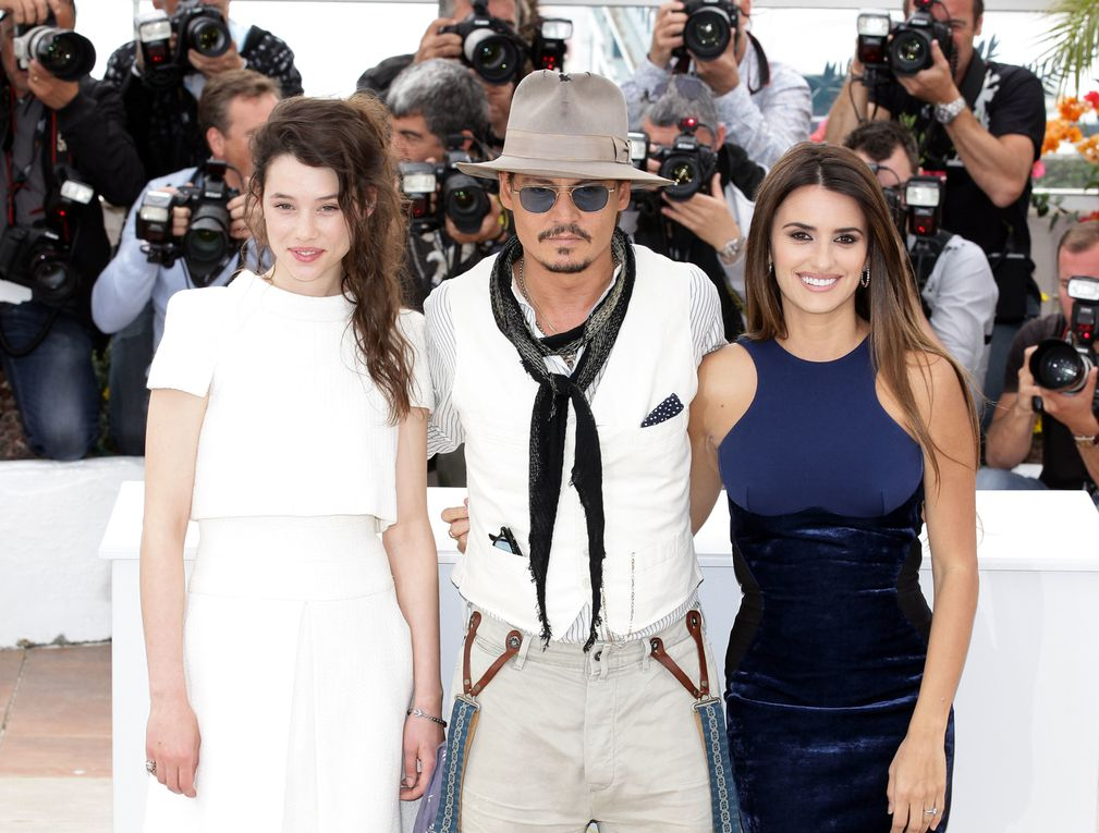 "CANNES, FRANCE - MAY 14, 2011 Actors Sam Caflin, Astrid Berges-Frisbey, Johnny Depp, and Penelope Cruz attend the ""Pirates of the Caribbean: On Stranger Tides"" photocall  at the Palais des Festivals during the 64th Cannes Film Festival on May 14, 201"