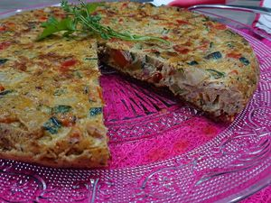 Tortilla aux petits légumes grillés
